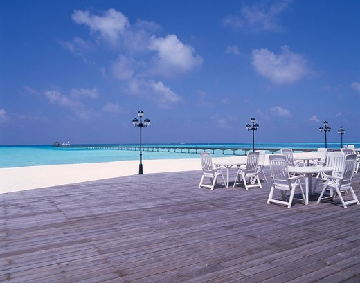 Concept Beach bar Terrace Holiday island Maldives Islands : Stock Photo