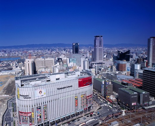 View from Acty Osaka, Chaya, Yodobashi Camera, Applause, MBS, Mainichi Broadcasting, Osaka, Osaka, Kinki, Japan : Stock Photo