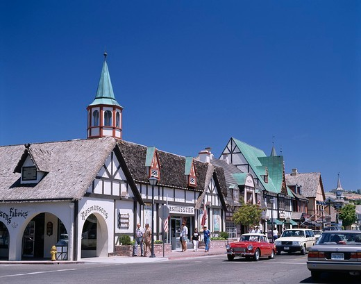 Stock Photo: 4034-15543 House Road Traffic Car Solvang California