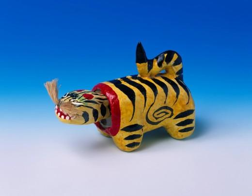 Shimizu papier mache, Tiger, Folk toy, Shimizu, Shizuoka, Japan : Stock Photo