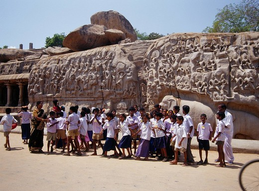 Stock Photo: 4034-16410 Arjuna Penance Mahabalipuram India
