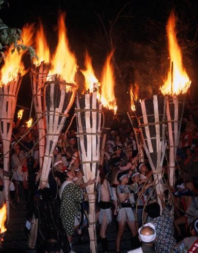 Kurama fire festival Kurama Kyoto Japan People Torch Fire Flame : Stock Photo