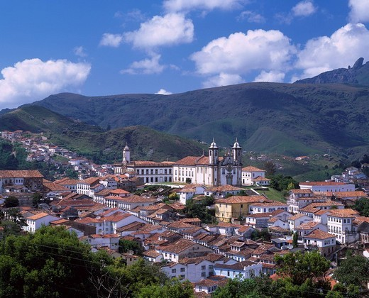 Ouro Preto City View World Heritage Ouro Preto Brazil Blue sky Clouds City View Building Roof Tree Green : Stock Photo