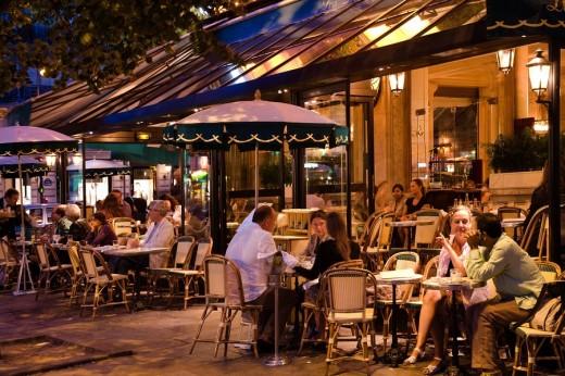 Les Deux Magots, Evening View, Paris, France, Europe : Stock Photo