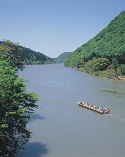 Mogami River, Descending boat, Tozawa, Yamagata, Japan : Stock Photo