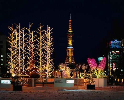 Sapporo White Illumination, Odori Park, Sapporo, Hokkaido, Japan : Stock Photo