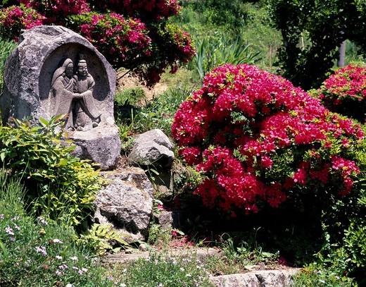 Stock Photo: 4034-19741 Nogura travelers´ guardian deity Uedashi Nagano Japan May