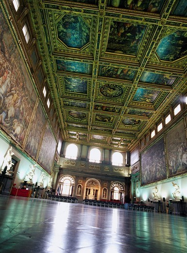 Palazzo Vecchio 500 people hall Florence Italy World Heritage : Stock Photo