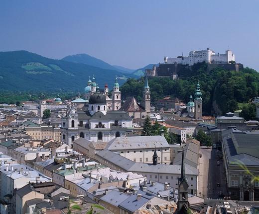 Hohensalzburg castle City View World Heritage Salzburg Austria : Stock Photo