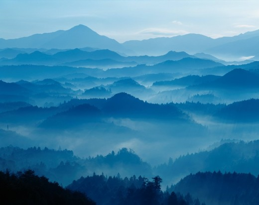 Stock Photo: 4034-20020 Morning haze Mountain range Ouda Nara Japan