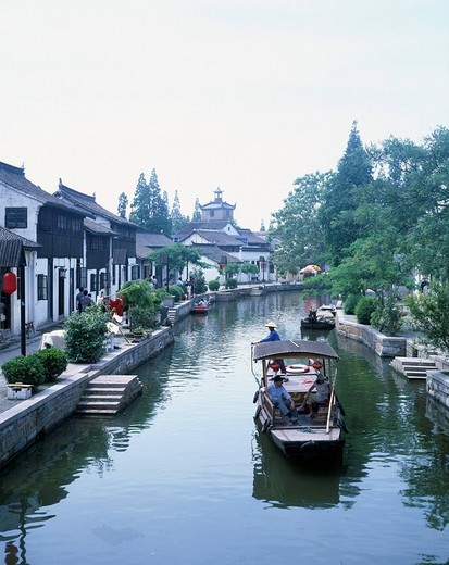Riverside area, Zhujiajiao, Tourist Ship, Qingbuqu, Shanghai, China : Stock Photo