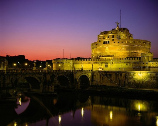 Castel Sant´Angelo, Night View, Rome, Italy : Stock Photo