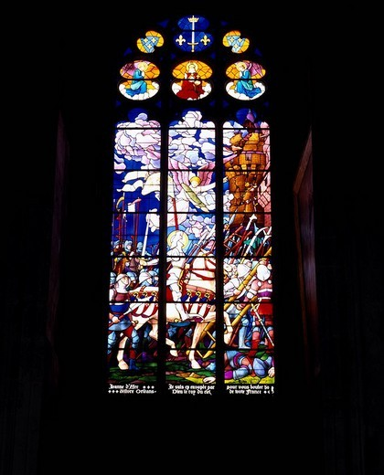 Saint Etienne cathedral Auxerre Burgundy France Stained glass Light Window Black : Stock Photo