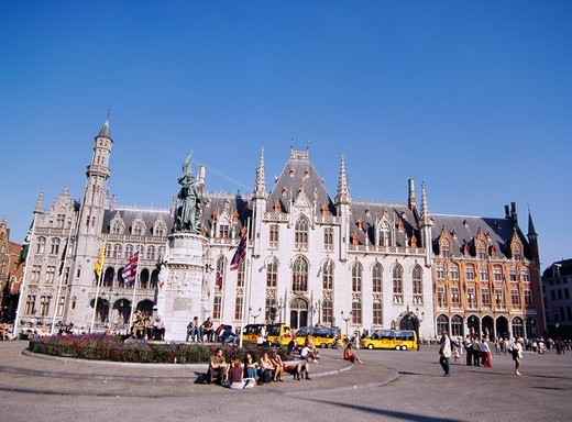 Market Square, City Hall, Bruges, Belgium, World Heritage : Stock Photo