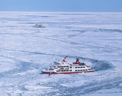 Aurora ship Abashiri Hokkaido Japan Drift ice White Sightseeing ship : Stock Photo
