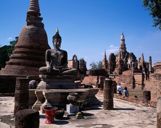 temple Wat Mahatat Sukhothai Thailand : Stock Photo