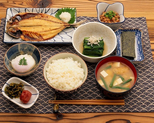 breakfast menu Japan Japanese Cuisine : Stock Photo