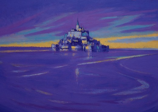 Oil painting, Mont Saint Michel, evening, autumn, France : Stock Photo