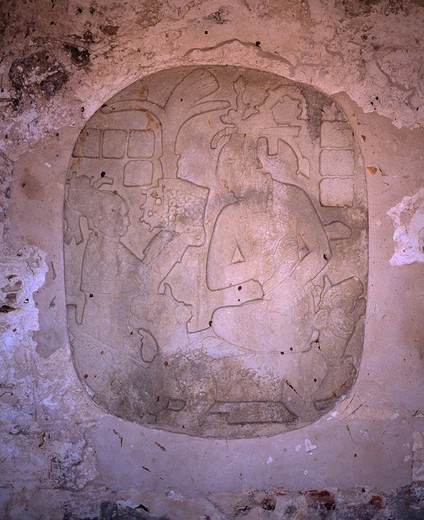 Stock Photo: 4034-23207 Relief describing King Pacal´s succession to the throne The ruins of Palenque World Heritage Mexico Archaeological find
