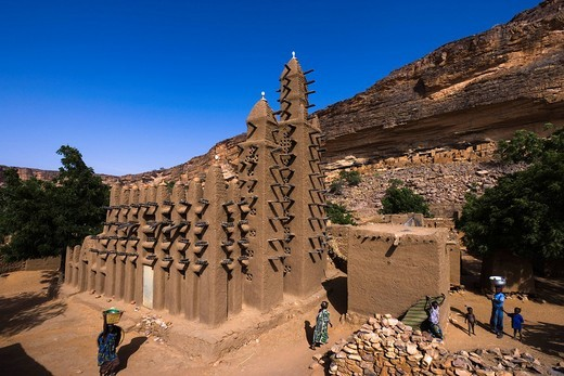 Dogon Family, Mouque, Teli Village, Cliff of Bandiagara Land of the Dogons, Mali, World Heritage : Stock Photo