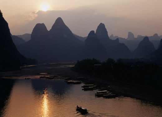 Evening view, Xingpingzhen, Guilin, Guangxi, China : Stock Photo