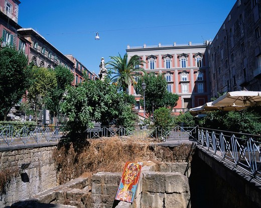 Bellini Square, ancient underground city ruins, Napoli, Europe, August : Stock Photo