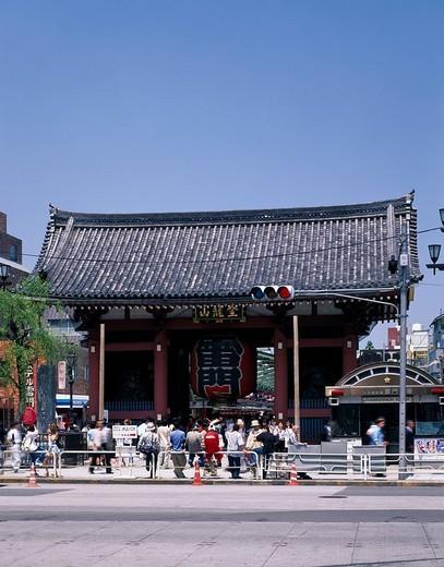 Early summer Asakusa Kaminarimon Ueno, Asakusa Tokyo Japan Gate Paper lantern Signal Blue sky People : Stock Photo