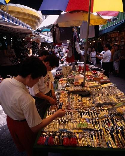 Namdaemun market Seoul South Korea Parasol Folkcraft Shopping People : Stock Photo