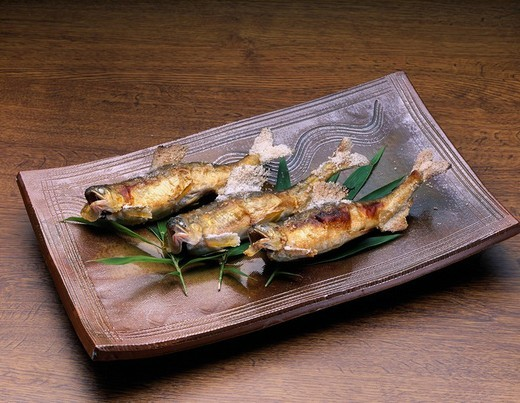 Stock Photo: 4034-25889 Sweet fish Dish grilled with salt Japan Japanese Cuisine