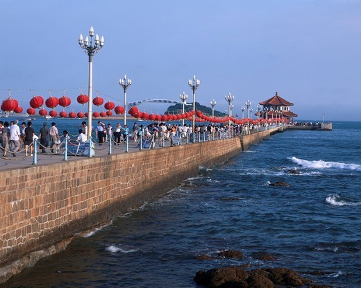 Front sea pier, Qingdao, Shandong, China, sky, Paper lantern, people, Ocean, Sea, wave, August : Stock Photo
