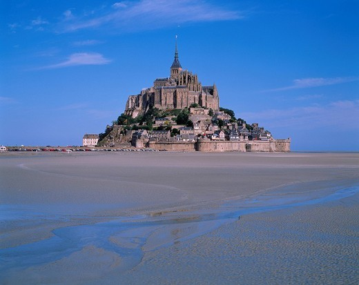 Mont Saint Michel monastery Brittany France World Heritage Building Blue sky : Stock Photo