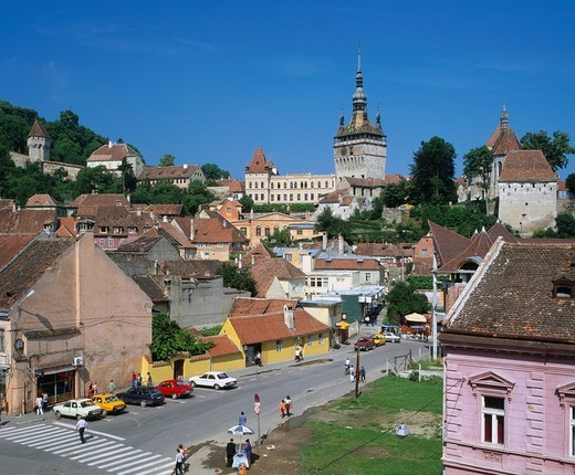 Sighisoara Clock Tower City View World Heritage Sighisoara Rumania : Stock Photo