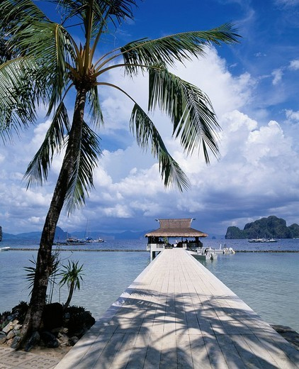 Minilock Resort, Pier, Rest Hut, El Nido, Philippines, Asia : Stock Photo