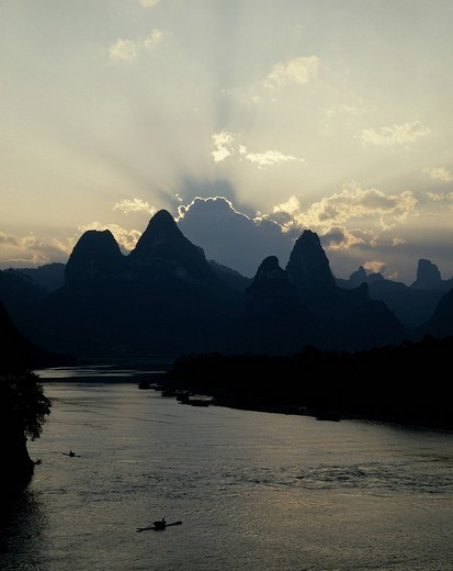 LiJiang River, Nightfall, Guilin, China : Stock Photo