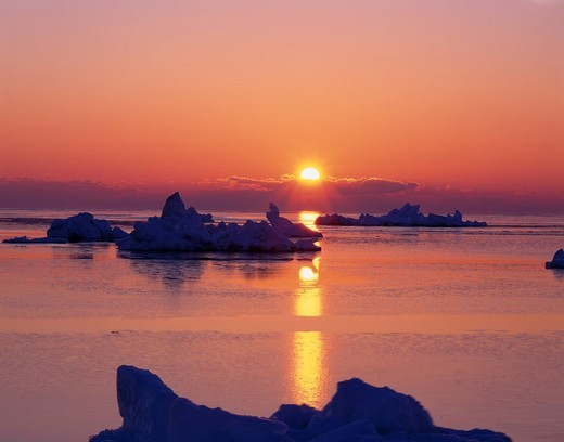 Morning Sun and drift ice, Notsuke peninsula, Bekkai, Hokkaido, Japan : Stock Photo
