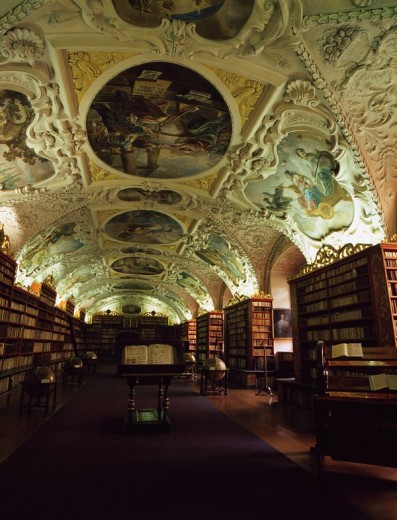 Stock Photo: 4034-30033 Theology room Strahov Monastery Prague Czech Ceiling Wall painting