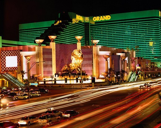 Metro_Goldwyn_Mayer Studios Grand Hotel night view Las Vegas Statue Way Road Car North America, USA Hotel Accommodation, United States of America : Stock Photo