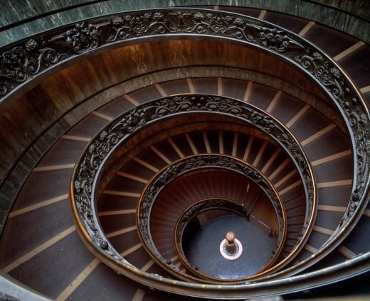 Vatican art museum, Circular stair, Entrance, Vatican City : Stock Photo
