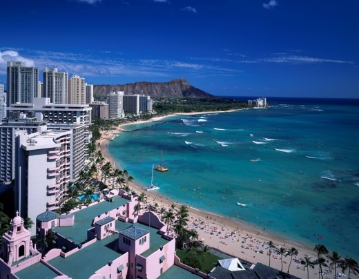 Waikiki Beach Diamond Head Sheraton Hotels & Resorts Waikiki Oahu Hawaii Sightseeing Sea Wave Sandy beach : Stock Photo