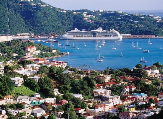 Charlotte Amalie, City View, cruise ship, Saint Thomas, U.S. territory Virgin Islands, Caribbean Sea, Latin America : Stock Photo