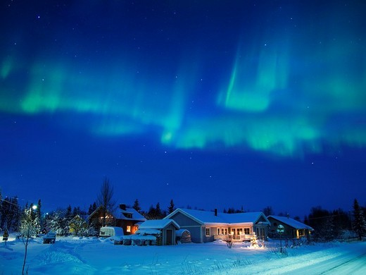 Aurora above House, Near Kiruna, Sweden, World Heritage : Stock Photo