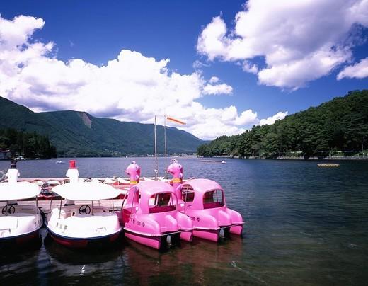 Stock Photo: 4034-34058 Summer Kizaki lake Omachi North Alps Nagano Japan Lake Mountain