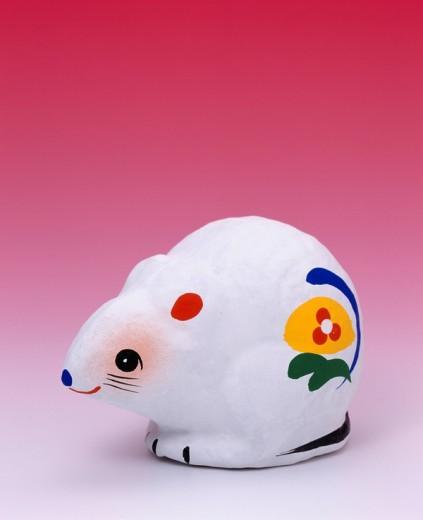 Miharu hariko, rat, sexagenary cycle, twelve zodiacal signs, folk toy, folkcraft, Fukushima, Tohoku, Japan, May : Stock Photo