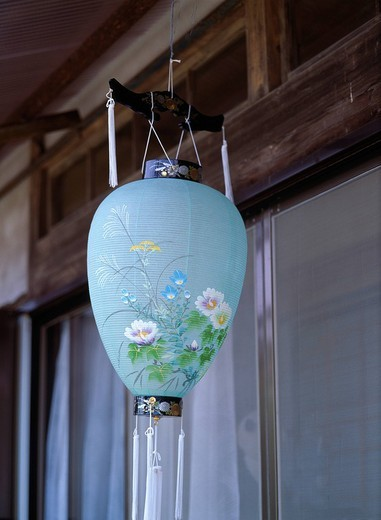 Concept Bon Festival Paper lantern Japan Under the eaves : Stock Photo