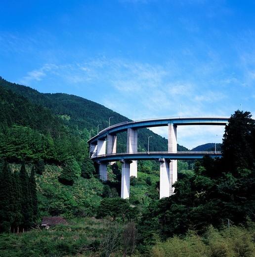 Stock Photo: 4034-35495 Hitoyoshi loop bridge 221st national road road Hitoyoshishi Kumamoto Japan Kyushu Traffic