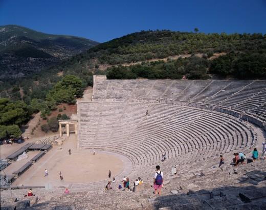 Amphitheater of Epidaurus Greece Sky Mountain Tree People Stairs : Stock Photo