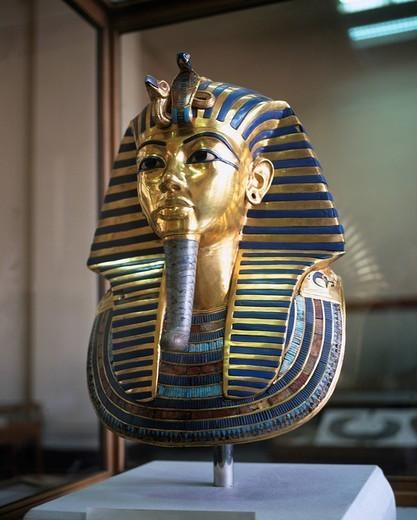 Stock Photo: 4034-36700 Tut_Ankh_Amun, Golden mask, Egypt archaeological museum, Cairo, Egypt Mask