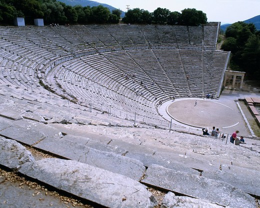 Ruins outrs theater of an Epidaurus Greece World Heritage Seat People The shape of stairs Plant : Stock Photo