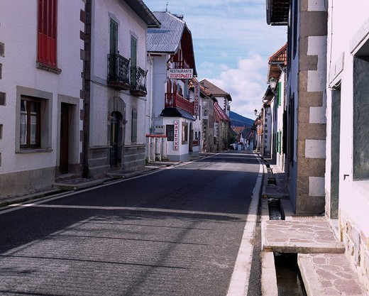 Burguete, Spain, World Heritage, Rows of houses, October : Stock Photo