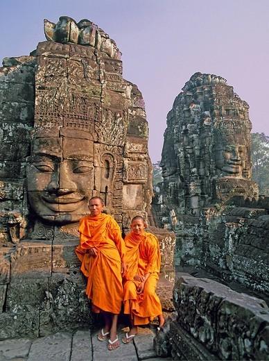 Bayon, Angkor Thom, Ang Kor ruins, Cambodia, Asia, World Heritage, January : Stock Photo